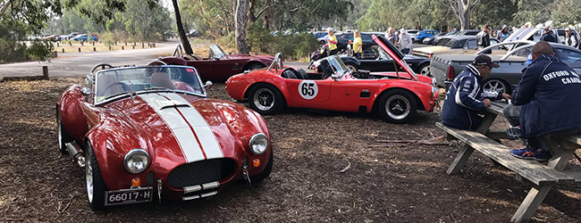 Westerford Park BBQ on 22 April 2018 Great day followed by run to Marysville. Webmasters Backdraft Cobra beside John  Agius  (immediate Past President) tamer but much more economical Coba No. 65